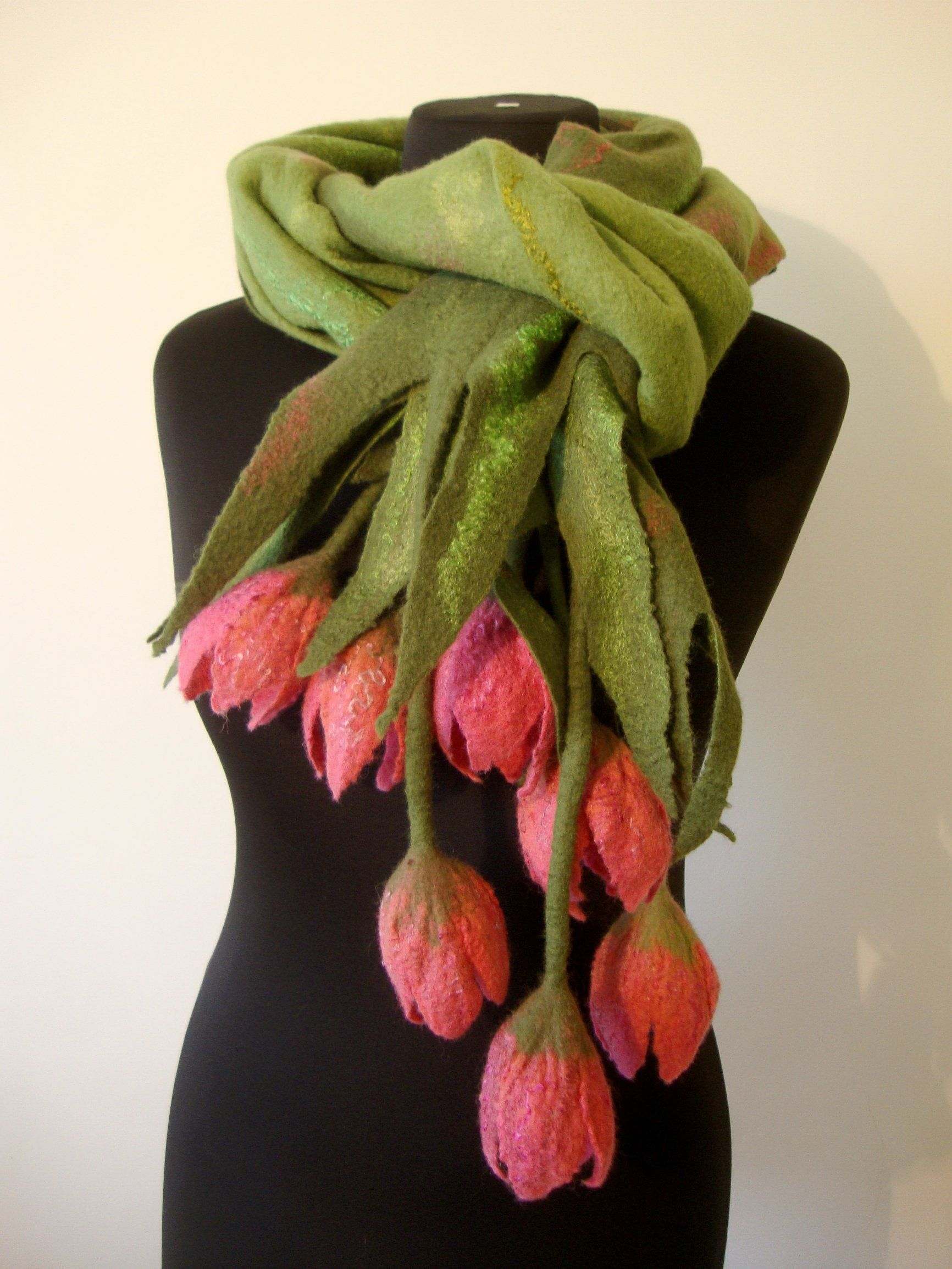 Green nuno felted scarf wrap with felt flower brooch women Felted clothing Wool shawl wrap cape Blanket scarf Wedding shawl Merino felt art
