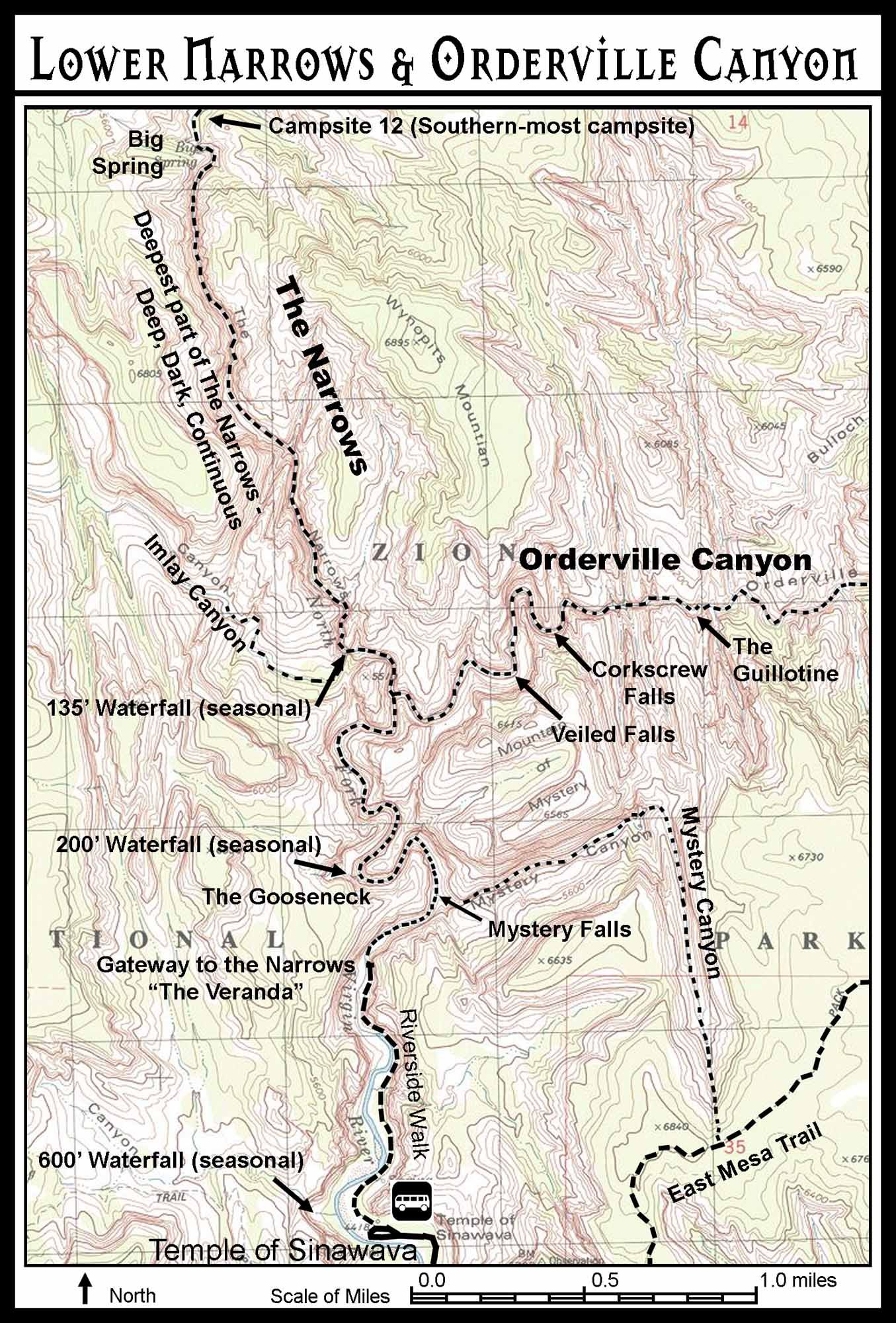Zion Narrows and Orderville Canyon | Zion National Park Maps | Zion ...