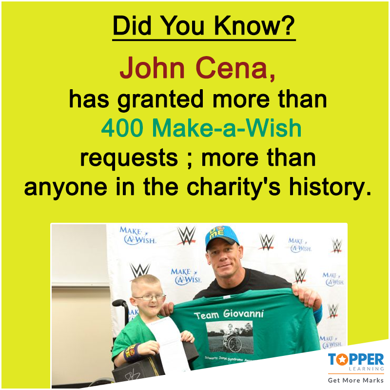 Good guy #JohnCena! #Fact   #DidYouKnow: John Cena, has granted more than 400 Make-a-Wish requests - more than anyone in the charity's history