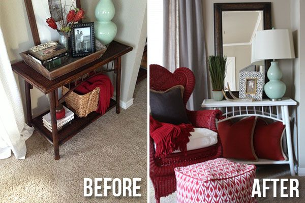 bamboo console table makeover before and after on the blissful bee rh pinterest ca