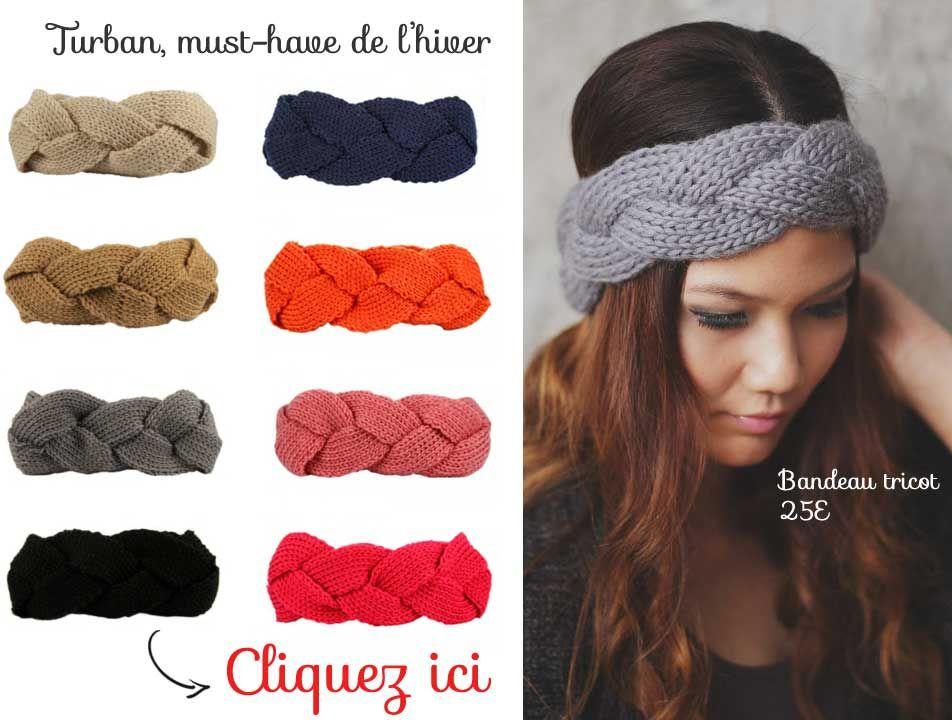 acheter un bandeau cheveux d 39 hiver turban en maille torsad laine fibre textile pinterest. Black Bedroom Furniture Sets. Home Design Ideas