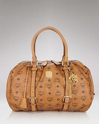 MCM Boston Logo Print Medium Shoulder Bag Handbags