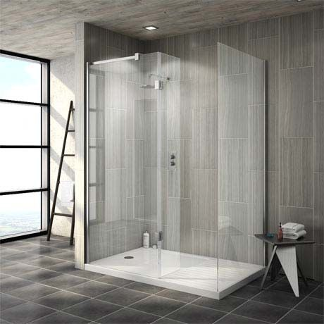 Saturn 8mm Walk In Shower Enclosure - 1400 x 900mm (includes Side Panel & Return Panel + Tray)