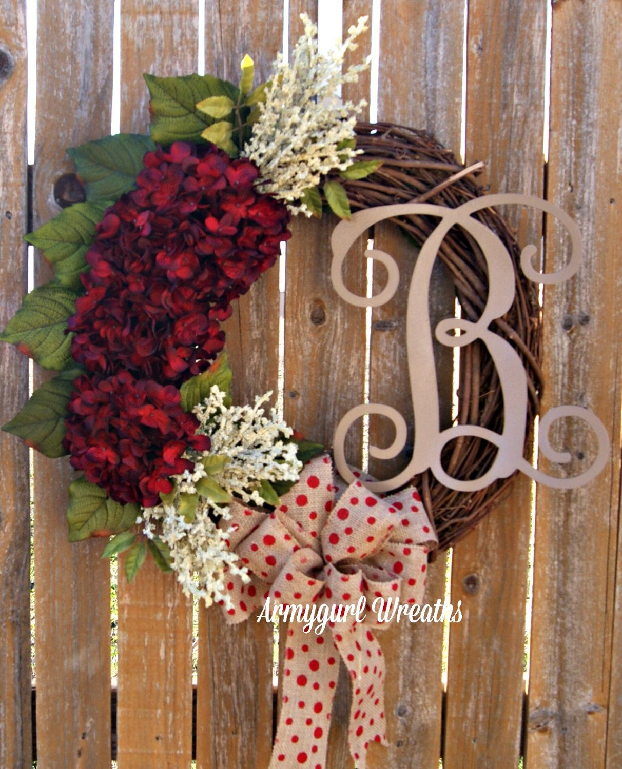 Monogram Wreaths Grapevine Wreath Hydrangea Wreath Home Decor Everyday Wreath Fro With Images Door Wreath Hanger Spring Door Wreaths Hydrangea Wreath Spring
