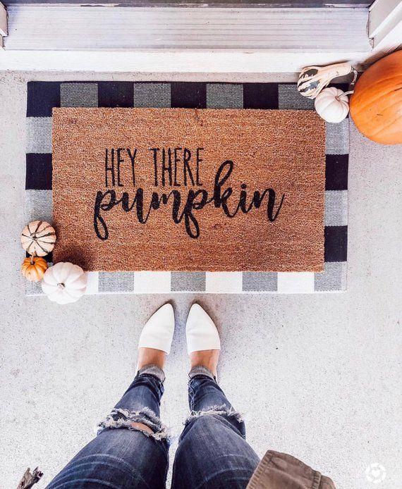 Hey There Pumpkin Doormat / Pumpkin Welcome Mat / Funny Doormat / Funny Door Mat / Closing Gift / Spring Doormat / Front Porch Decor