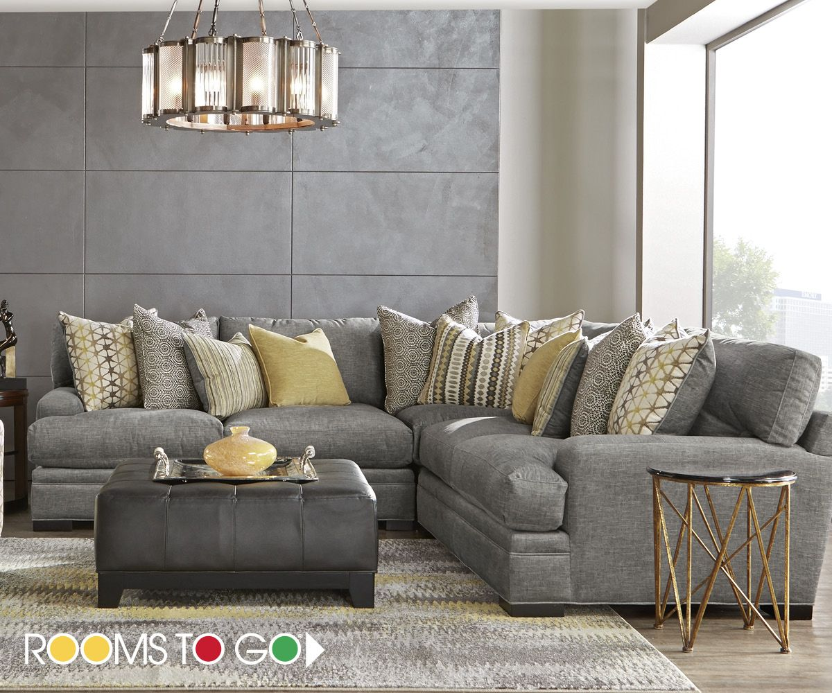 Cindy Crawford Home Palm Springs Gray 3 Pc Sectional Living Room