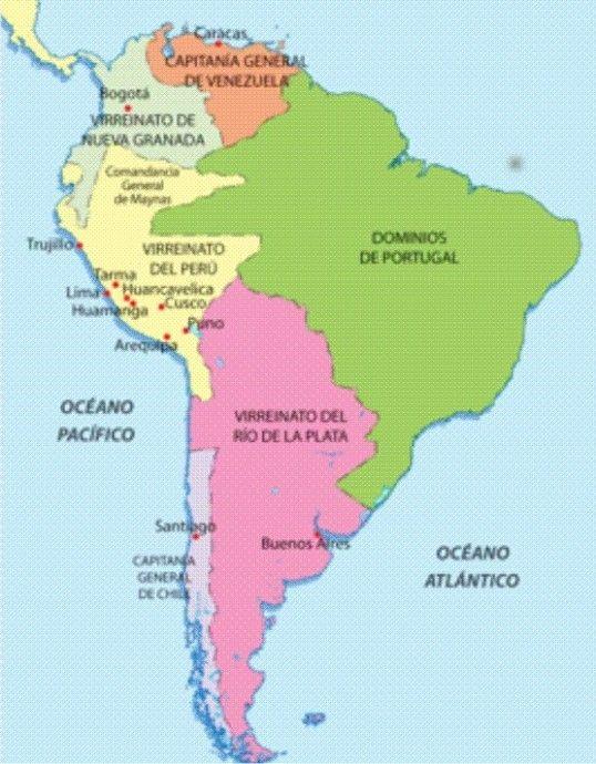 Virreinatos Y Capitanías En América Del Sur Mapa De America Del Sur Mapa De America Aula De Geografía