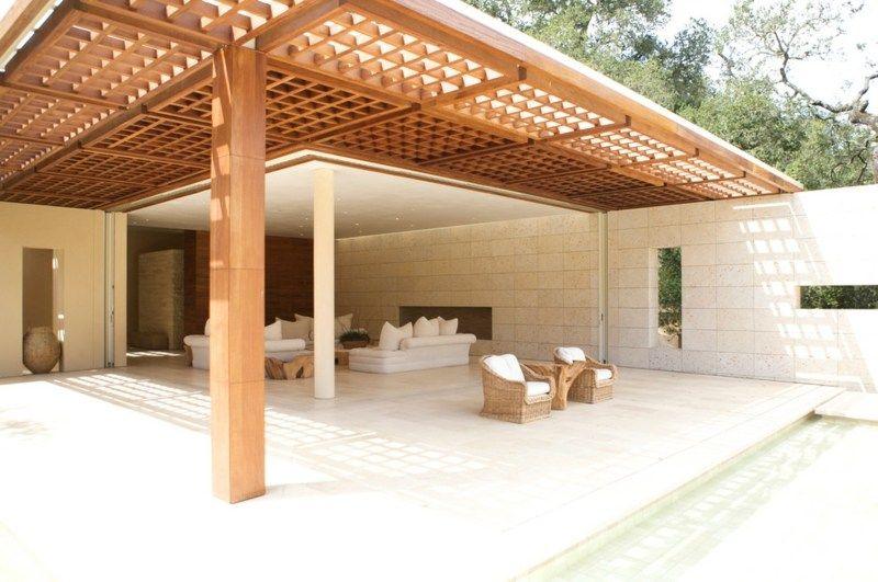 Holzpergola verlängert die Terrassenüberdachung Pergolas et - mediterrane terrassenberdachung