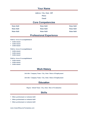 This Printable Resume Starts Off With A Section Of Core