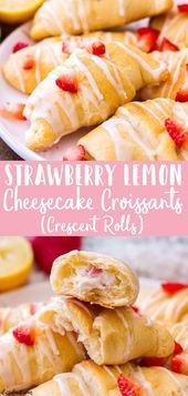 These easy strawberry lemon cheesecake croissants aka strawberry lemon cheesecake crescent rolls are made with just 6ingredients No bake strawberr