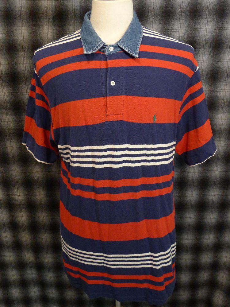 d89225387 RARE Vintage Polo Ralph Lauren Striped Blue White Red Polo Shirt L Denim  Collar