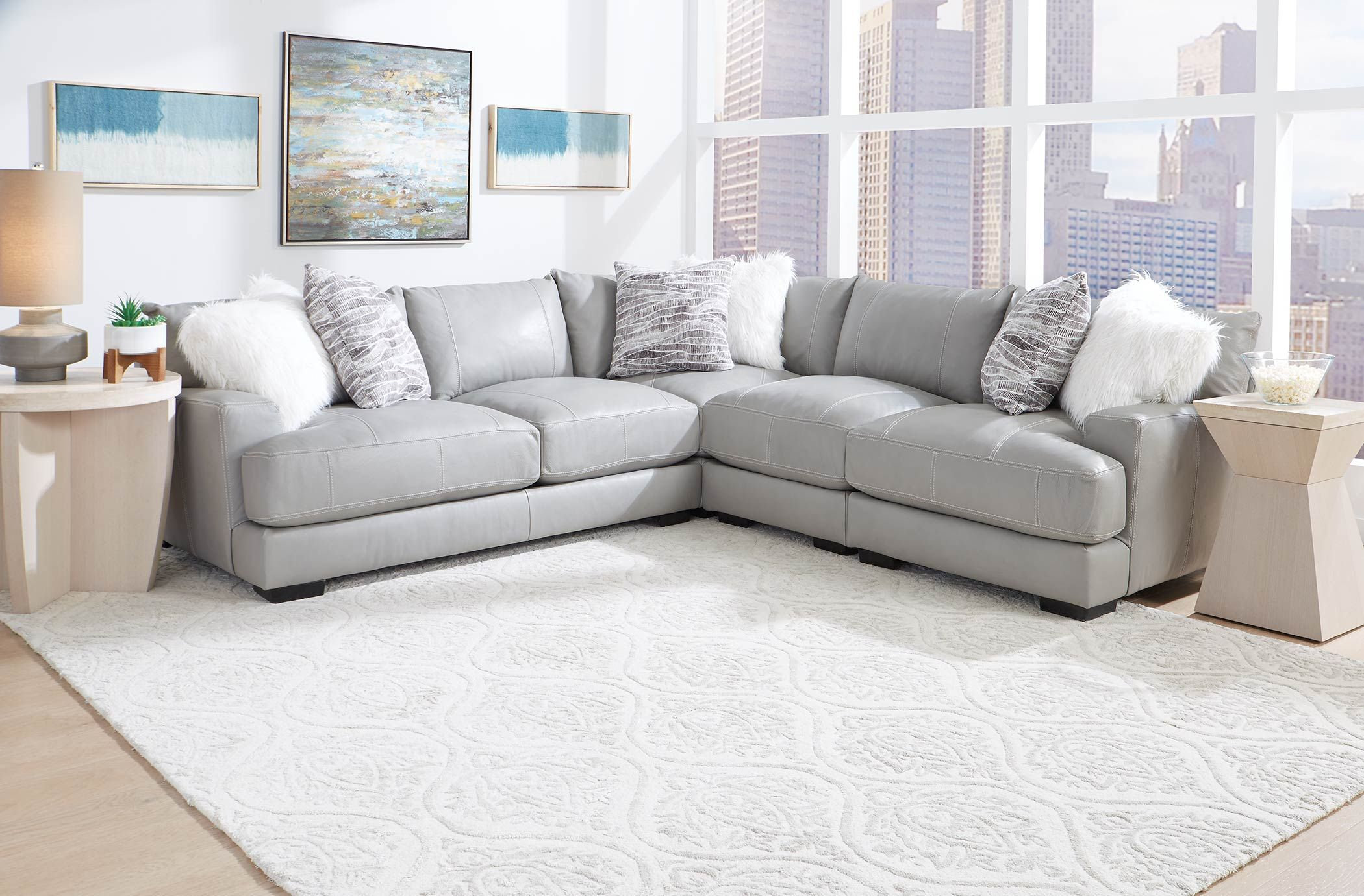 909 Antonia Leather Stationary Sectional Love Seat Living Room