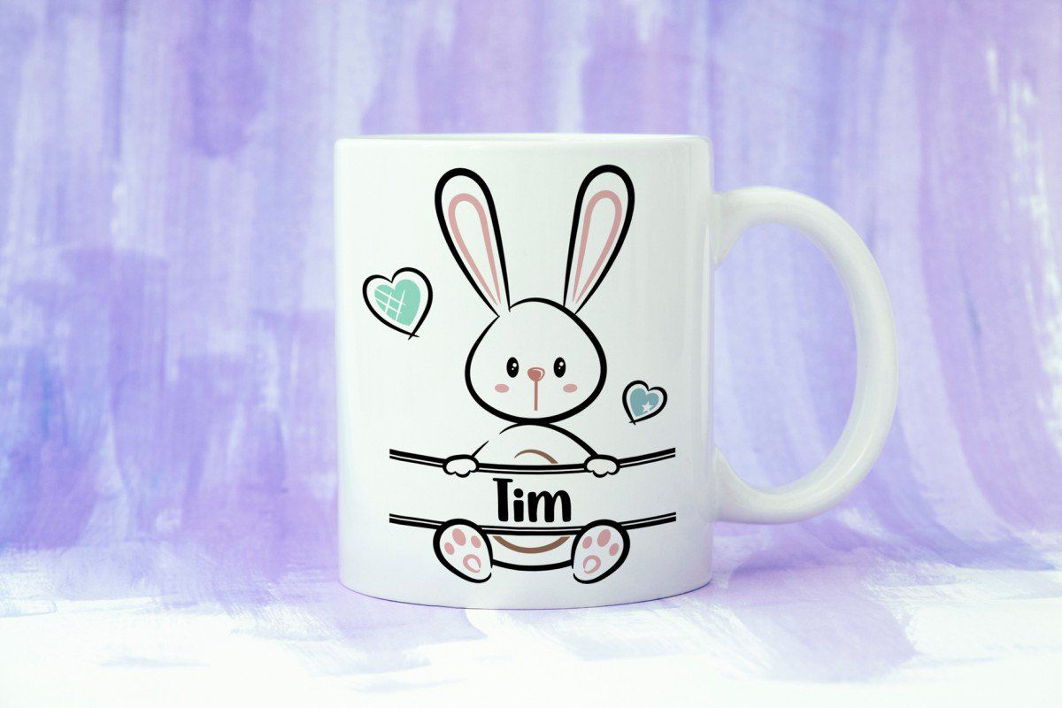 Personalized Coffee cup Easter bunny and custom name