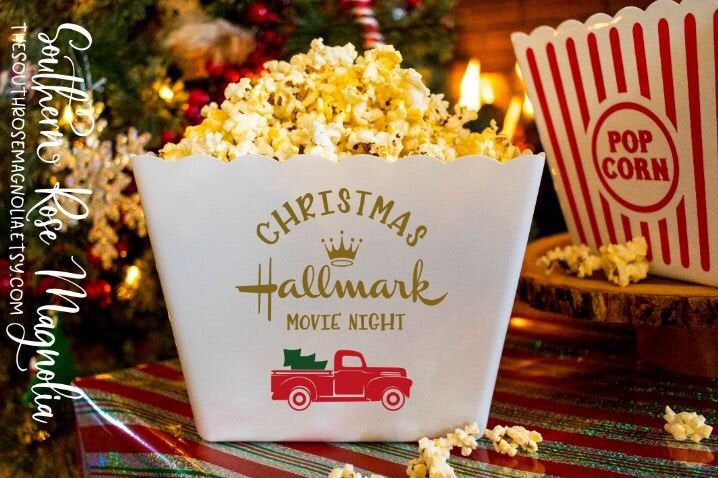 Personalized Popcorn Tub, Hallmark Christmas, Movie Night, Family gifts, popcorn theme party, Gift basket, party favors, Popcorn Bins