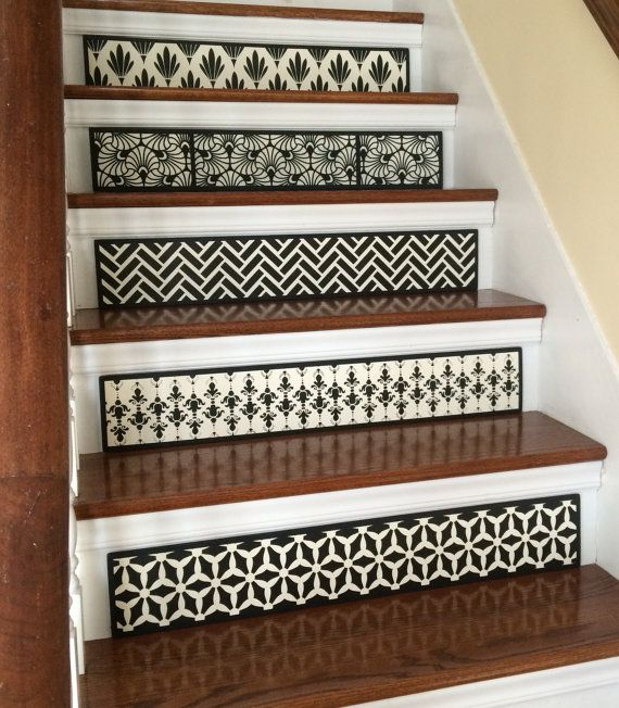 Carved Wood Stair Risers Stair Ideas Stamped Leather: Stair Riser / Alternative To Vinyl Decals And By