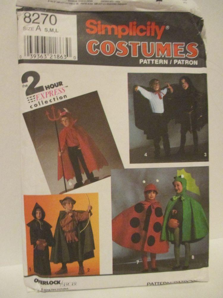 Halloween Costume Simplicity Sewing Pattern 8270 Cape Devil Vampire ...