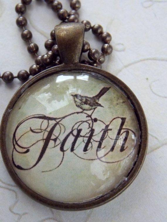 $18 Faith Glass Pendant Necklace, Antique Vintaj Brass  Ball Chain, Vintage Style Necklace