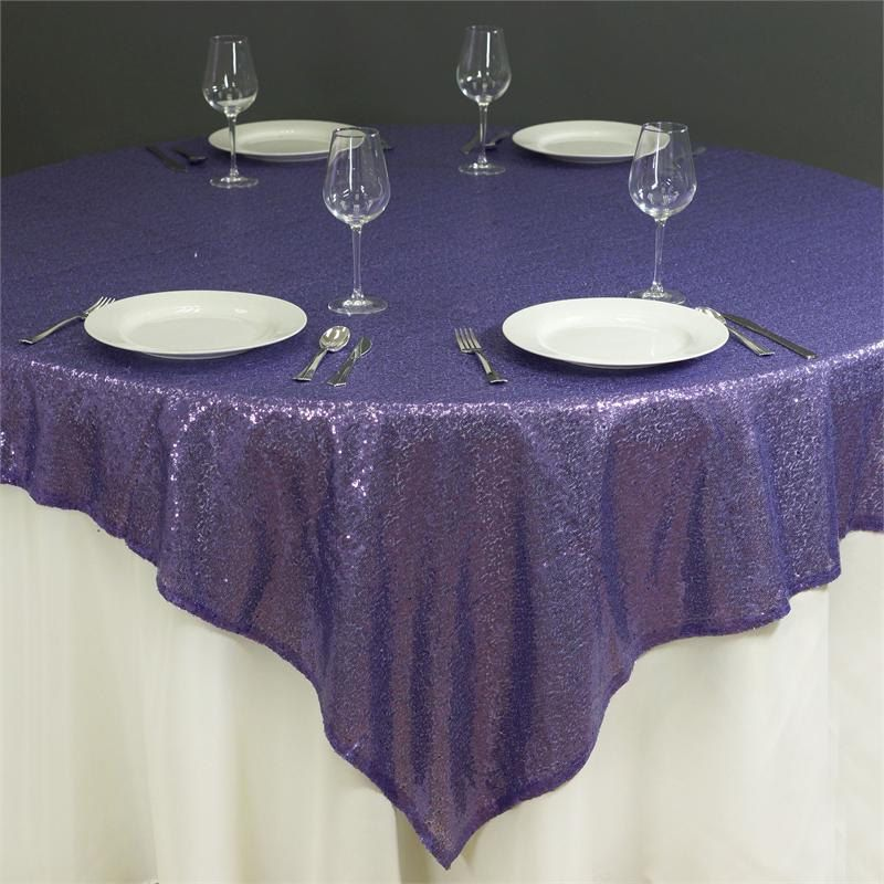 72 or 90 square sequin royal purple glitz tablecloth overlay ready rh pinterest com