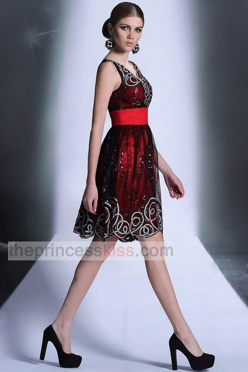 PRINCESS KISS Square Neck Black Red Prom Dresses Short, Sparkly ...