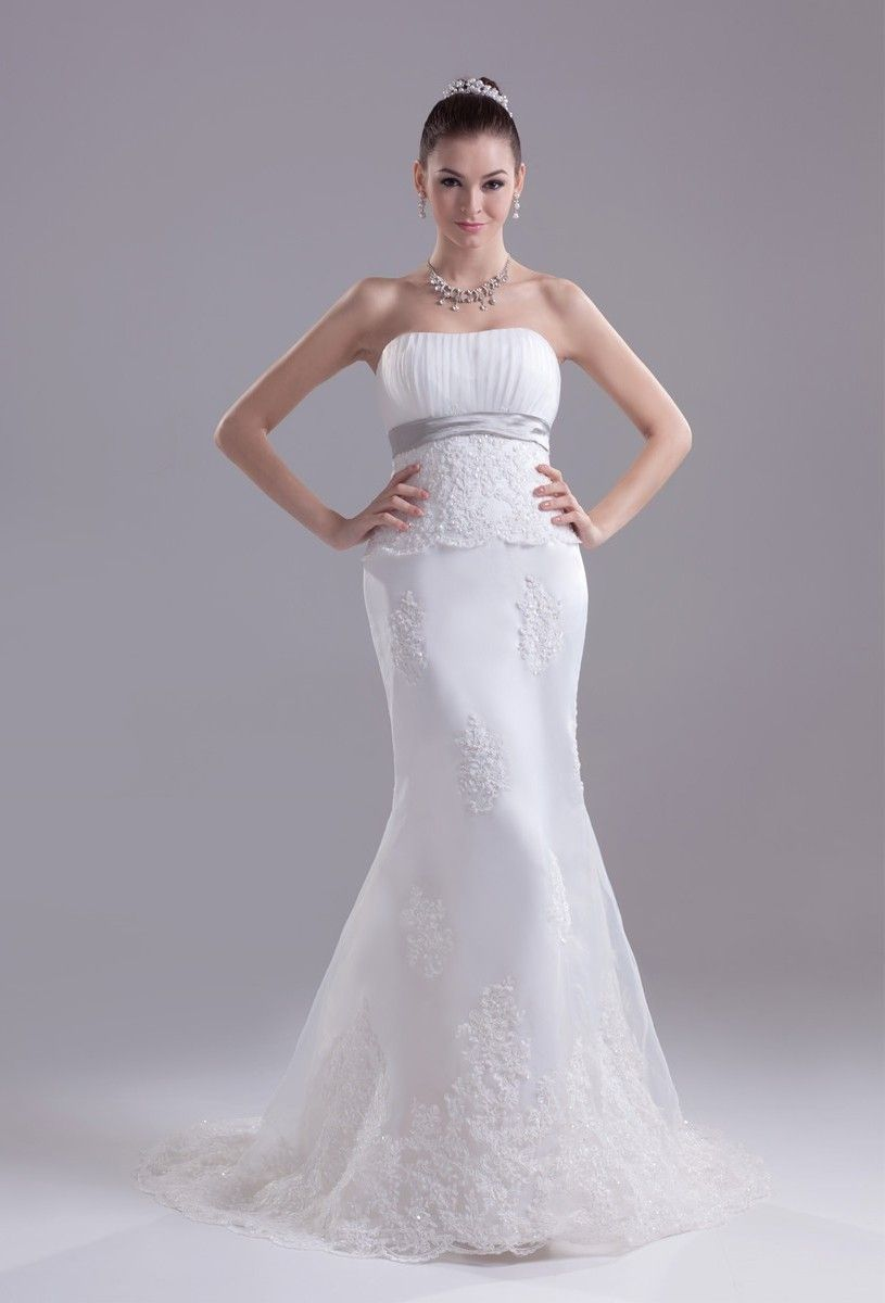 White And Silver Mermaid Wedding Dresses
