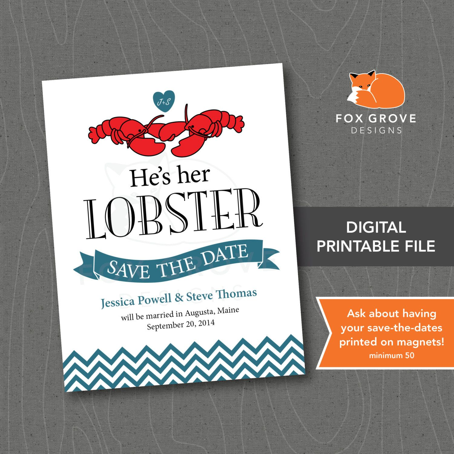 Printable SavetheDate He's Her Lobster / by FoxGroveDesigns, $15.00