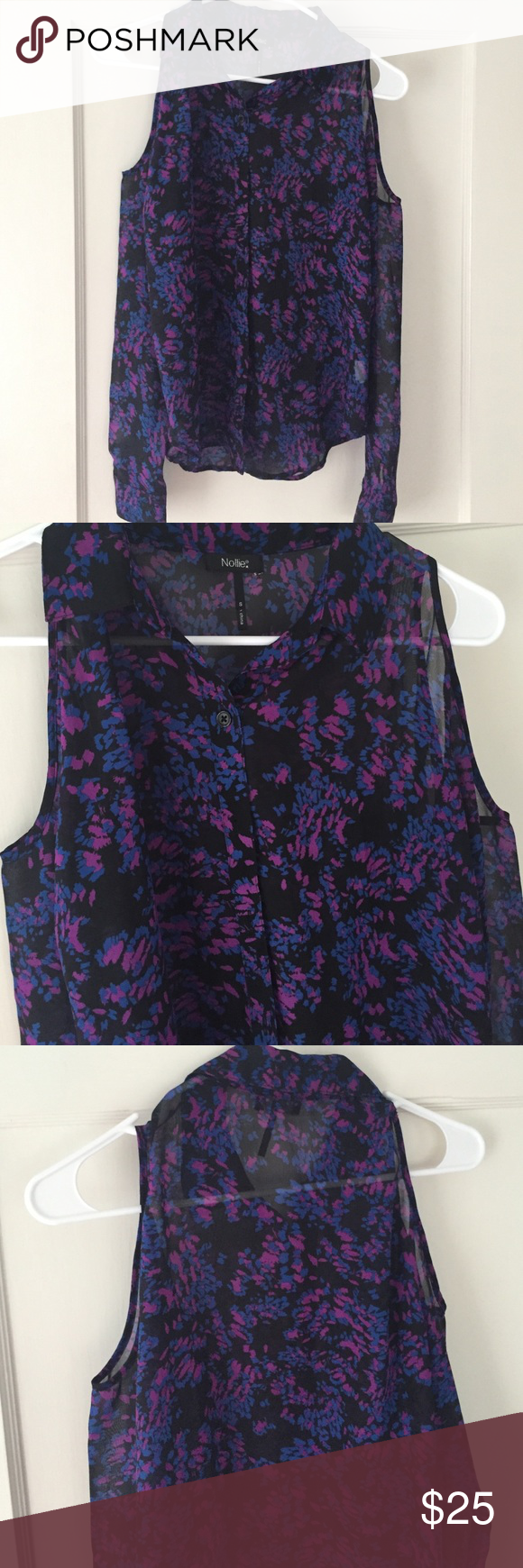Cut-out shoulder button up shirt Like new. Sheer purple, black, and blue button up shirt with cut out shoulders. Long sleeved. Collared. Loose fitting, very comfortable! Nollie Tops Button Down Shirts