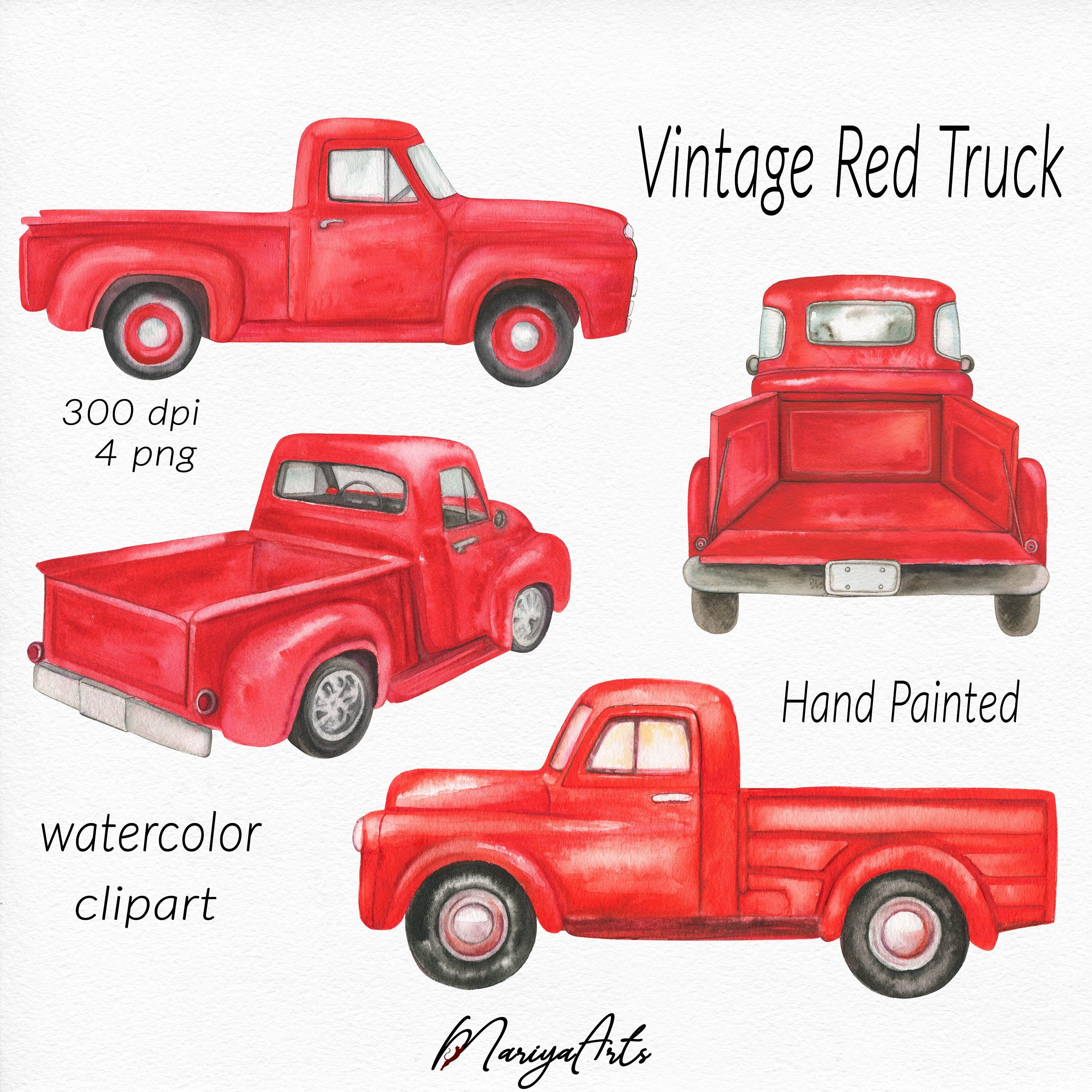 Red Truck Clipart Vintage Retro Watercolor Red Trucks Hand Painted Clip Art Farm Classic Pick Up Truck Farmer S Picku Red Truck Watercolor Red Truck Crafts