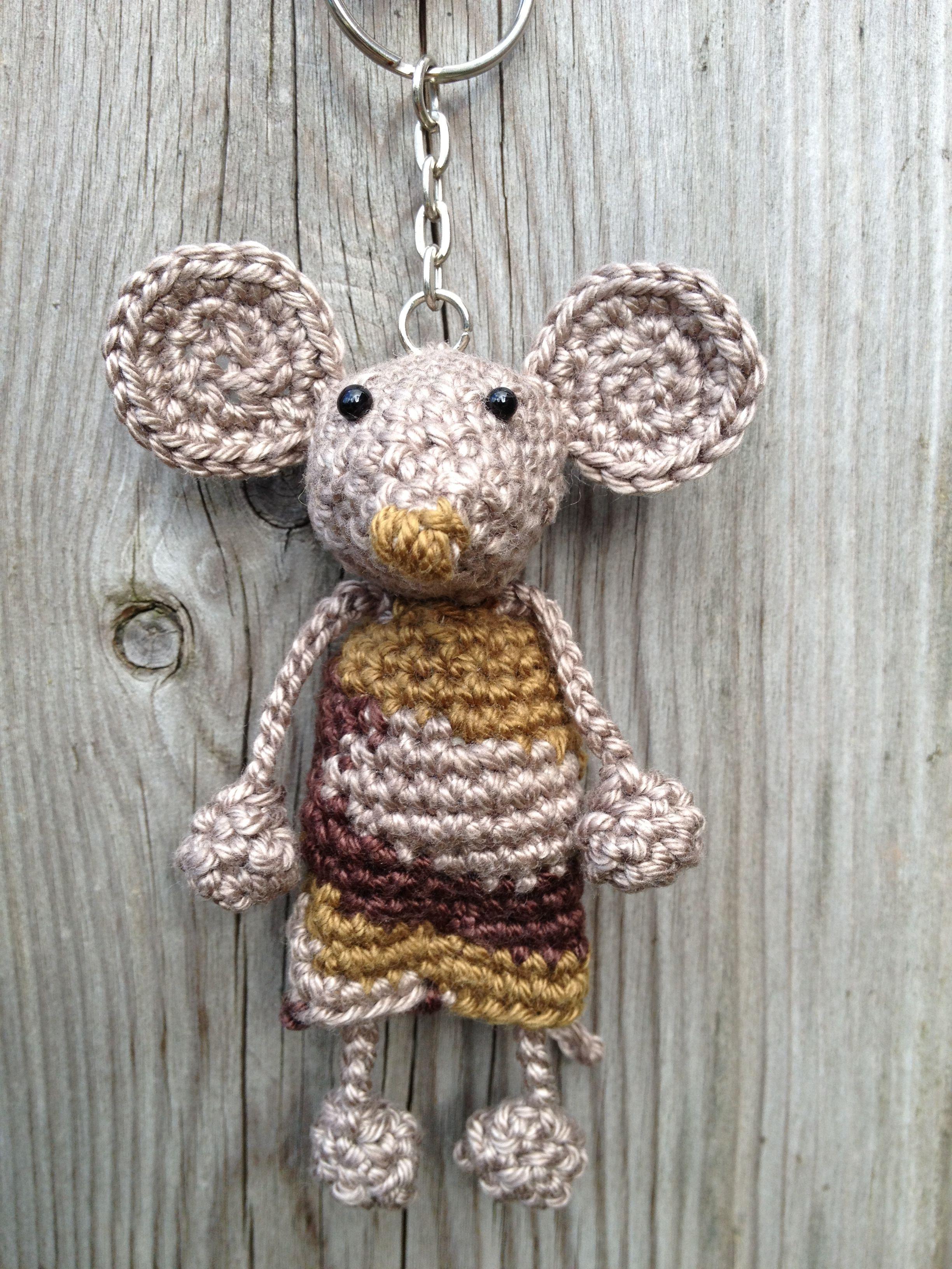 Sleutelhanger Muis Haken Crochet Crochet Keychain En Crochet Mouse
