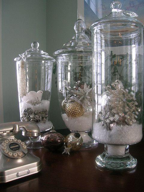 Pretty white and silver jar scenes.