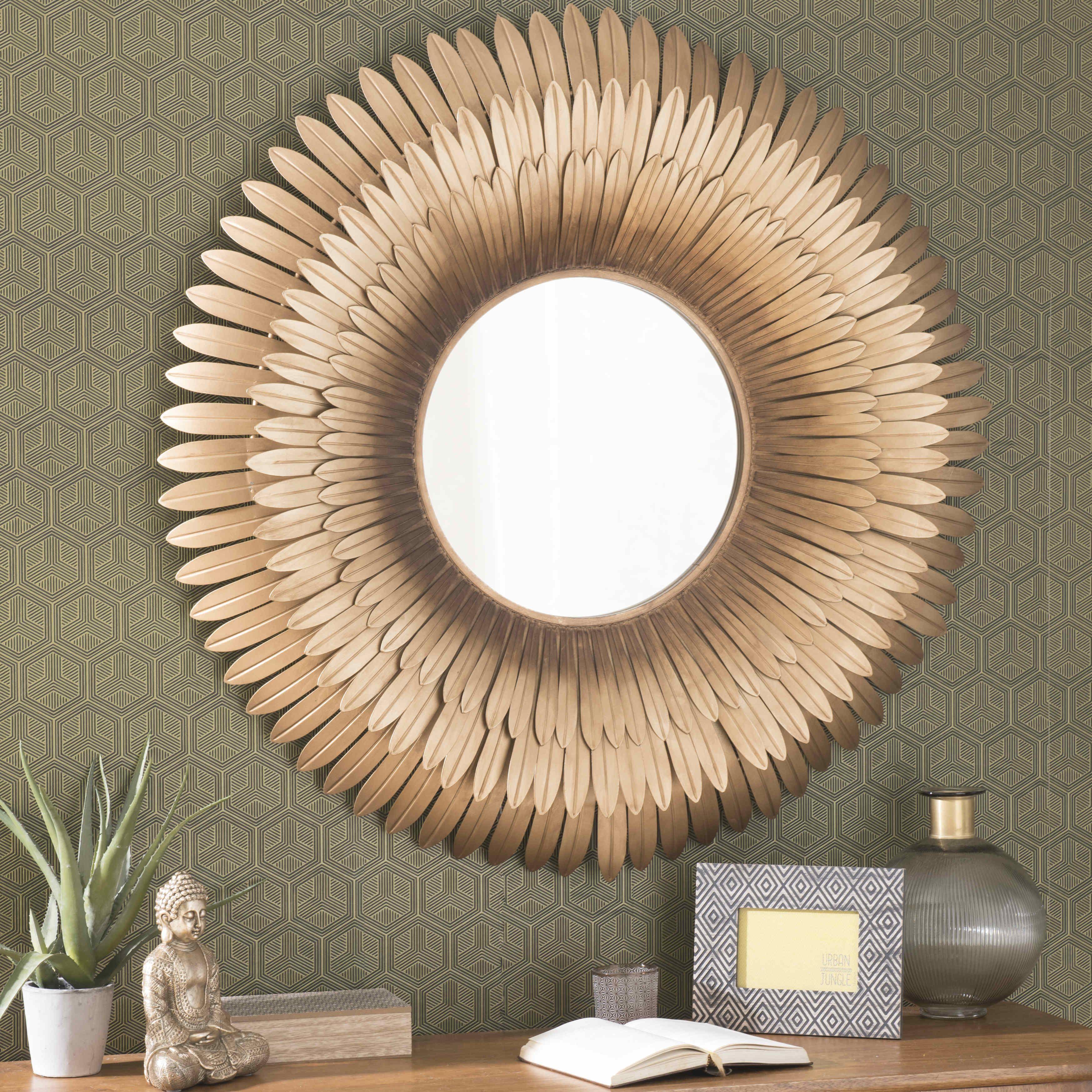 Great Spiegel met metalen lijst goudkleurig diameter cm TIVOLI