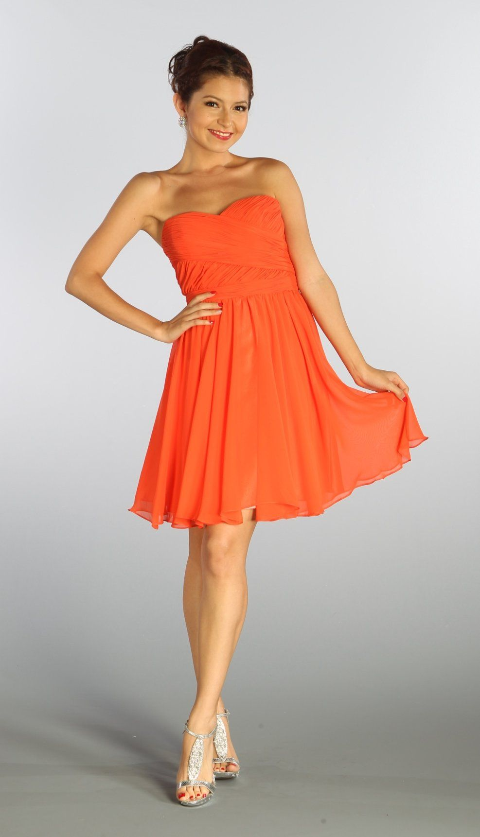 Strapless Chiffon Short Orange Bridesmaid Dress Knee Length