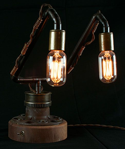 Steampunk Table lamp made from used car parts and other found ...:Steampunk Table lamp made from used car parts and other found objects.  Edison bulbs.,Lighting