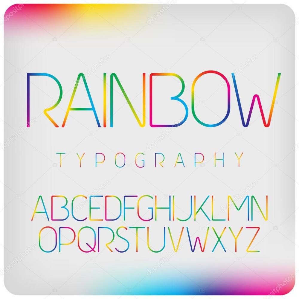 虹色のグラデーション フォント ストックベクター 虹 グラデーション ロゴデザイン
