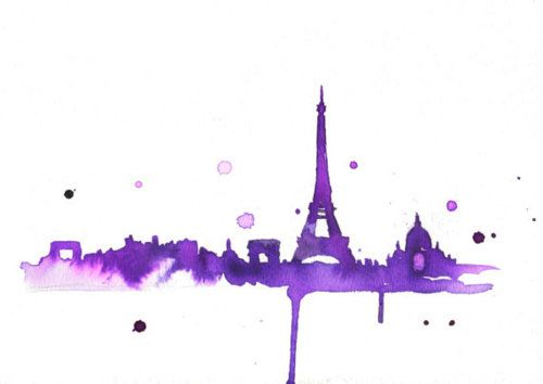 Eiffel Tower Purple And Watercolor Some Of My Favorite Things I