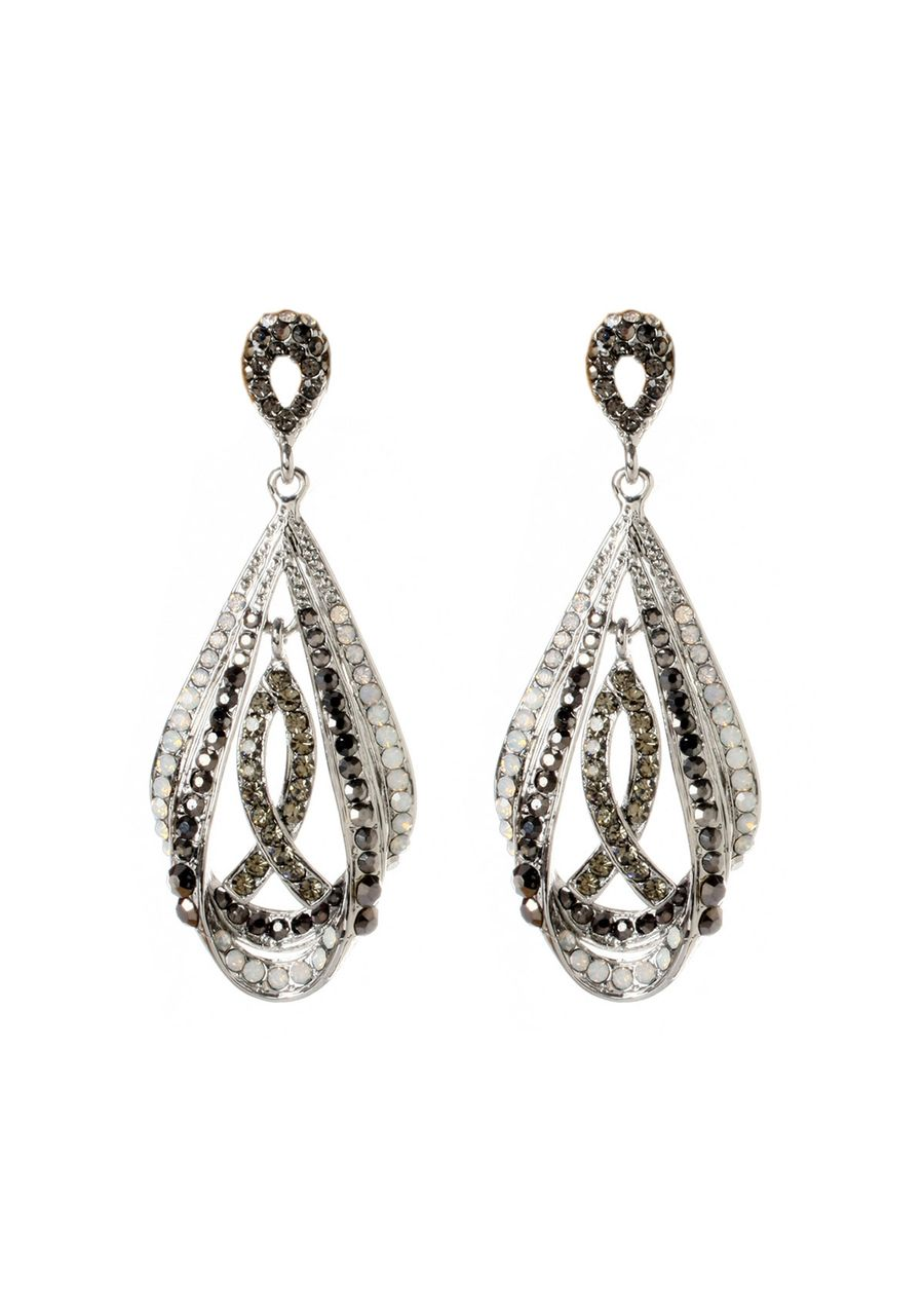 Gotham Chandelier Earrings Chandelier earrings; Contrasting crystal detailing; Crossover detail at center; Post back closure Chandelier #PostbackJewelry