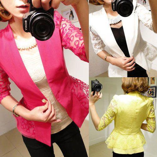 Fashion Womens Slim Short ONE Button Suit Blazer OL Outwear Jacket Coat - ZZKKO http://zzkko.com/n539720  10.79