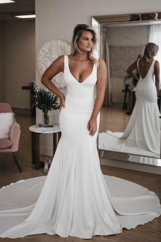 Chic V Neck Mermaid Wedding Dresses, Ivory Satin Long Cheap Beach Wedding Gowns W1031