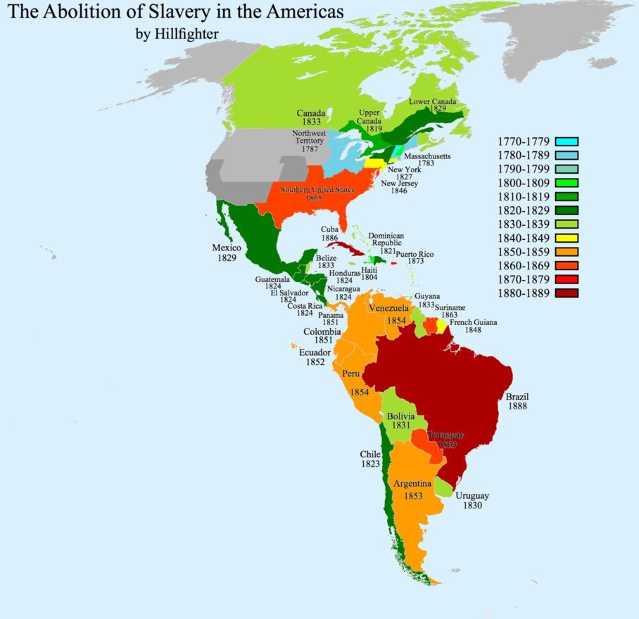 The Abolition Of Slavery In The Americas Caribbean Detail Link United States Detail Link Date On Map Represents Actual Rather Than Gradual Date Of
