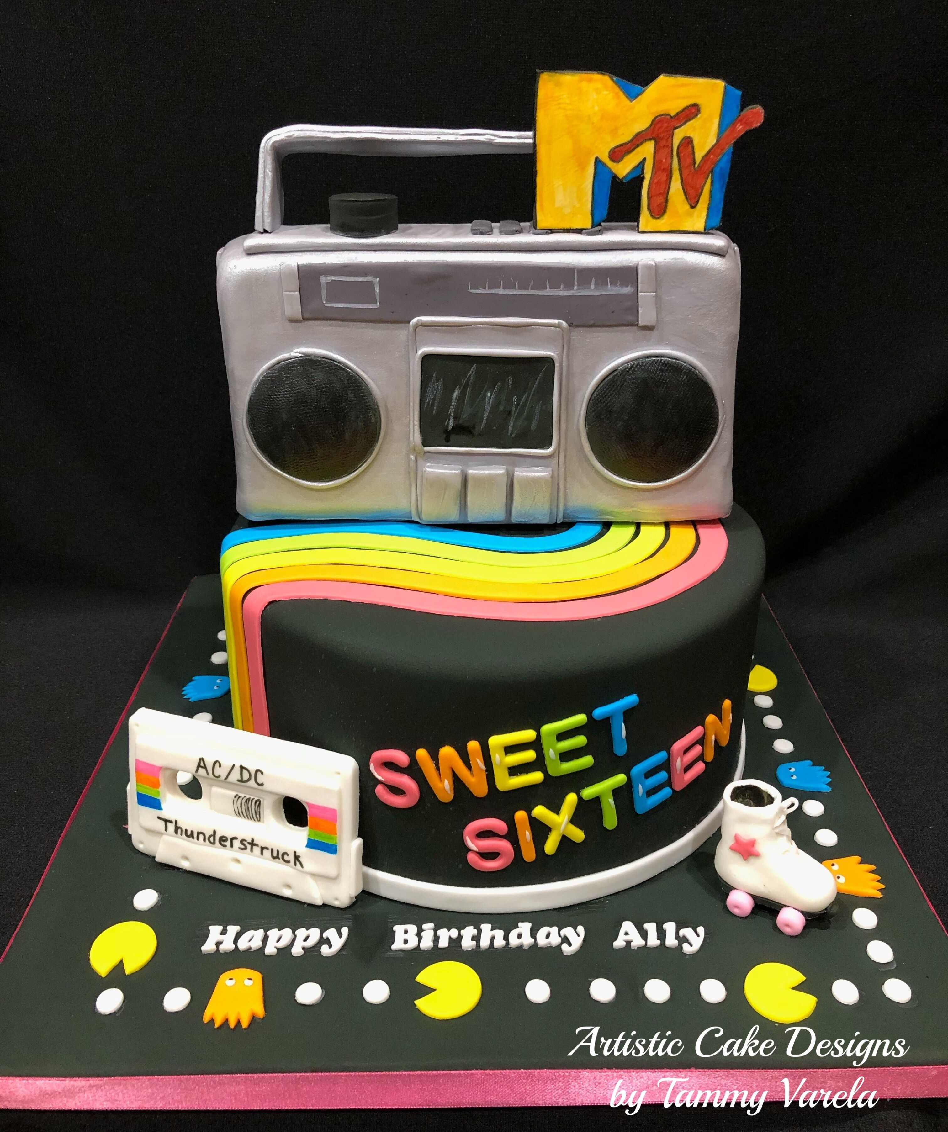 80s Theme Birthday Party Cake Sweet Sixteen Sweetsixteen Sweetsixteenpartyideas Cakedecorating 80sparty