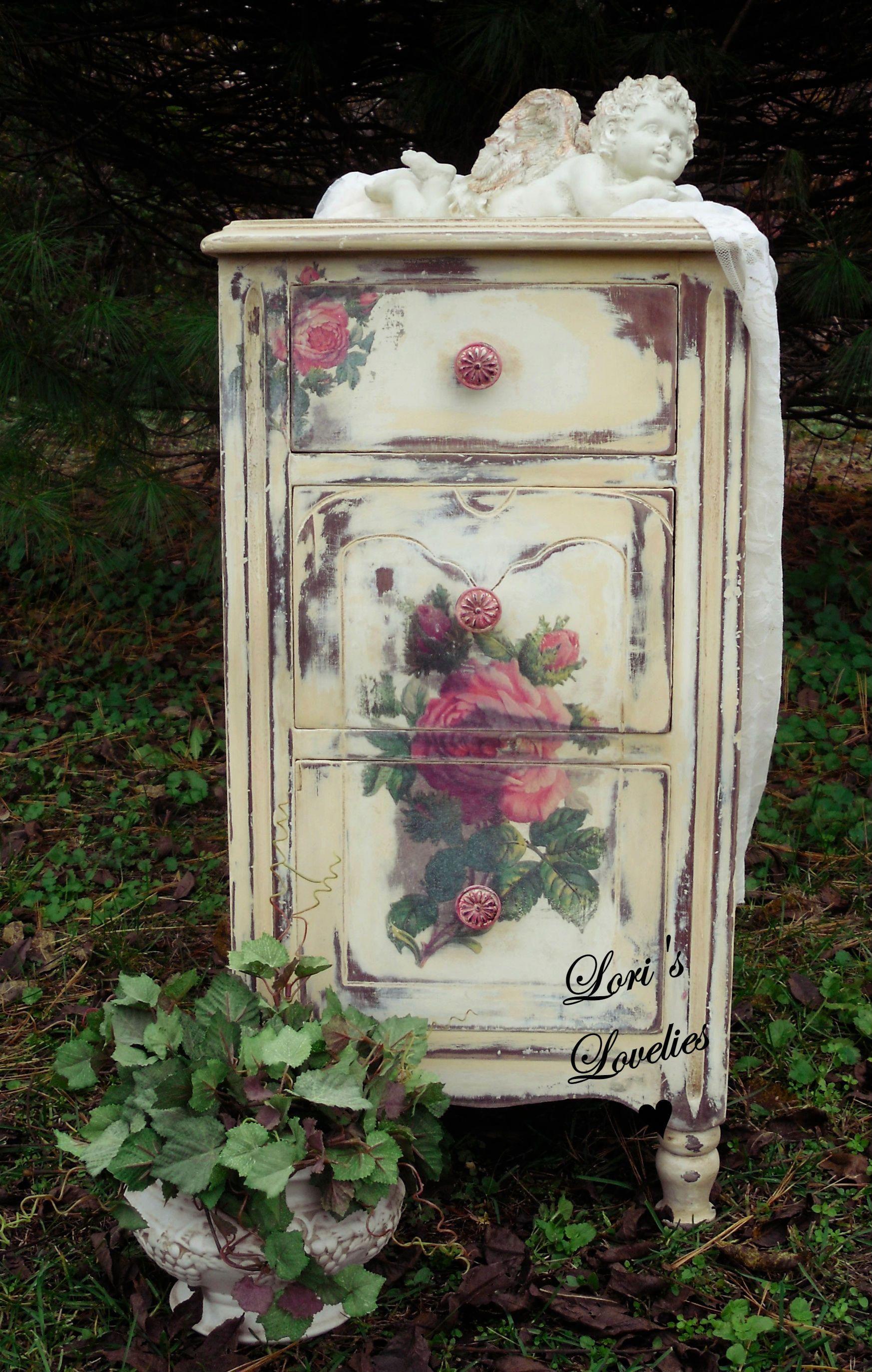 shabby chic rose paint nightstand cherub distressed vintage