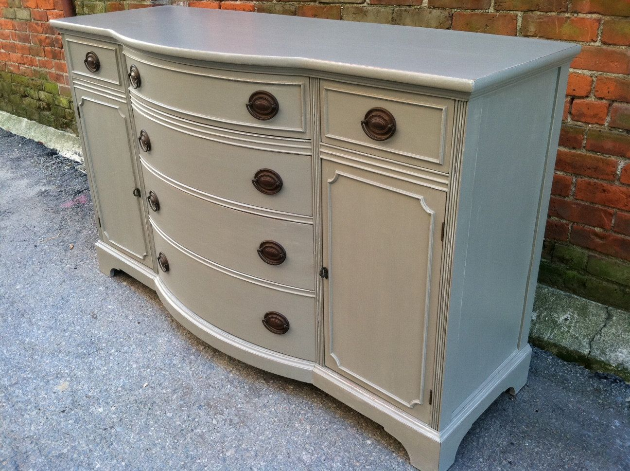Painted Cottage Grey Dresser Server Buffet By KingstonKrafts