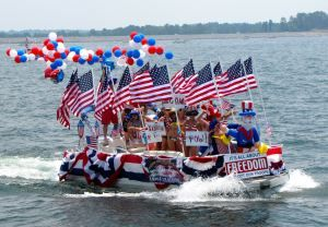 red white and blue celebrate with patriotic decorations - Patriotic Decorations