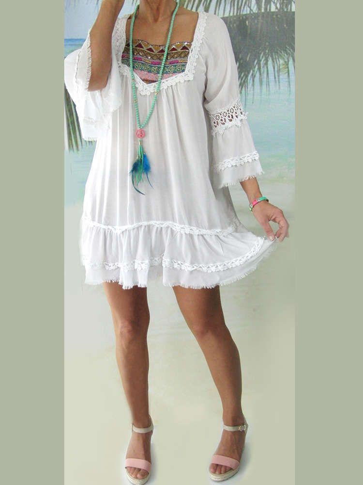 Zuckersüße Ibiza Long-Tunika Sommerkleid Pailletten ...