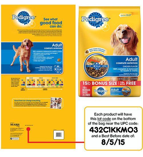 Pet Food Recall Pedigree Brand Adult Complete Nutrition Dog