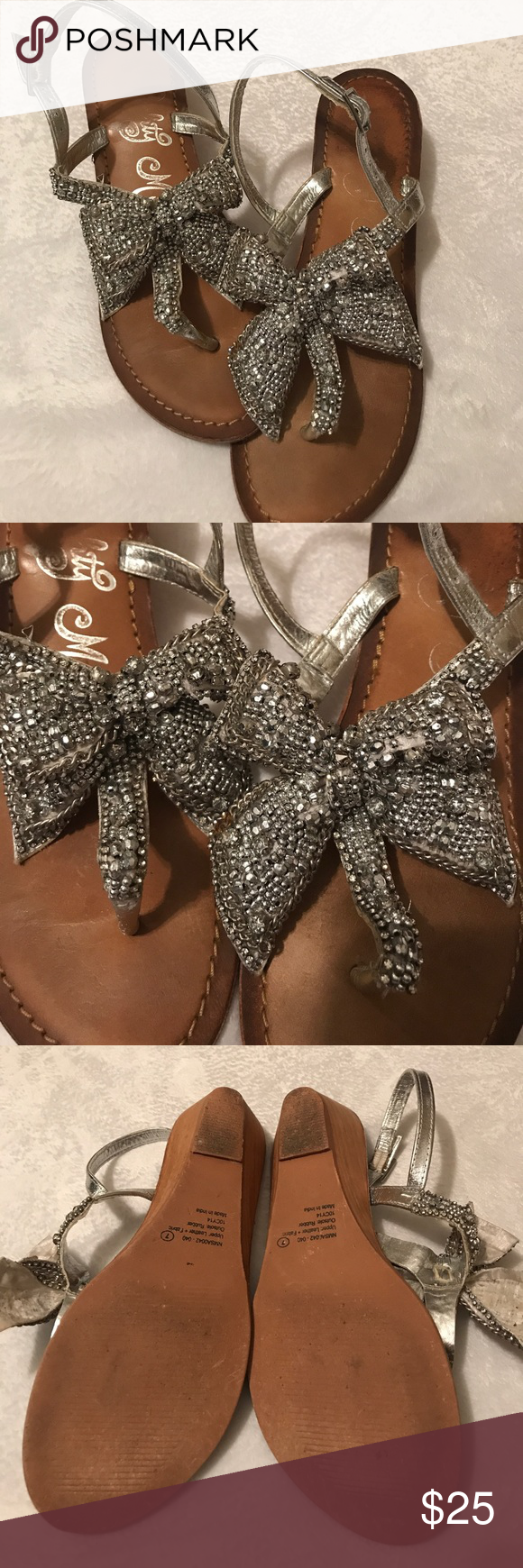 6070869becf90a Rhinestone bow sandals Naughty Monkey brand bow rhinestone sandals. Size 7. Great  overall condition a few little mishaps with a couple rhinestones which you  ...