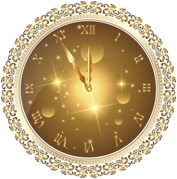 Gold New Year's Clock PNG Transparent Clip Art Image