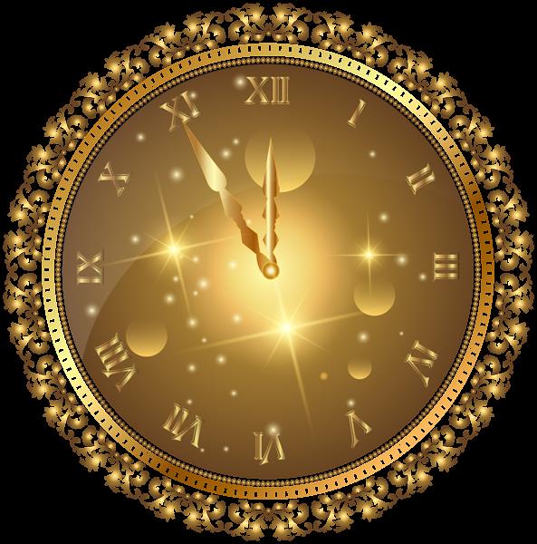 Gold New Year S Clock Png Transparent Clip Art Image Clip Art Clock New Year Clock