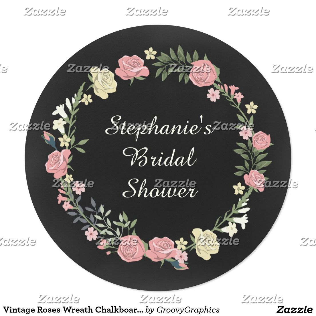 Vintage Roses Wreath Chalkboard Bridal Shower