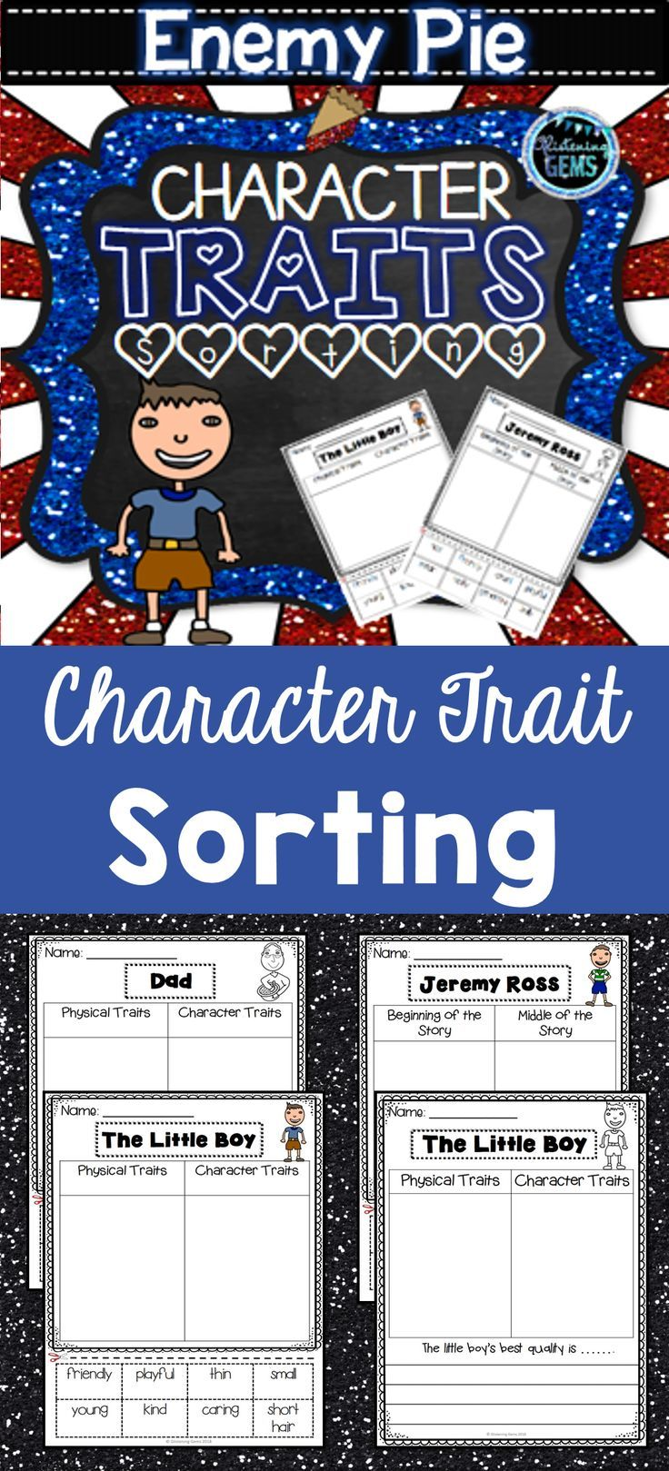 Enemy Pie- Character Traits Sorting, Feelings & Physical Traits ...