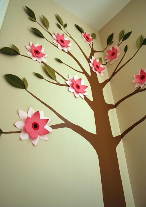 Diy 3 d paper flower tree mural for little girl 39 s for Diy tree mural nursery